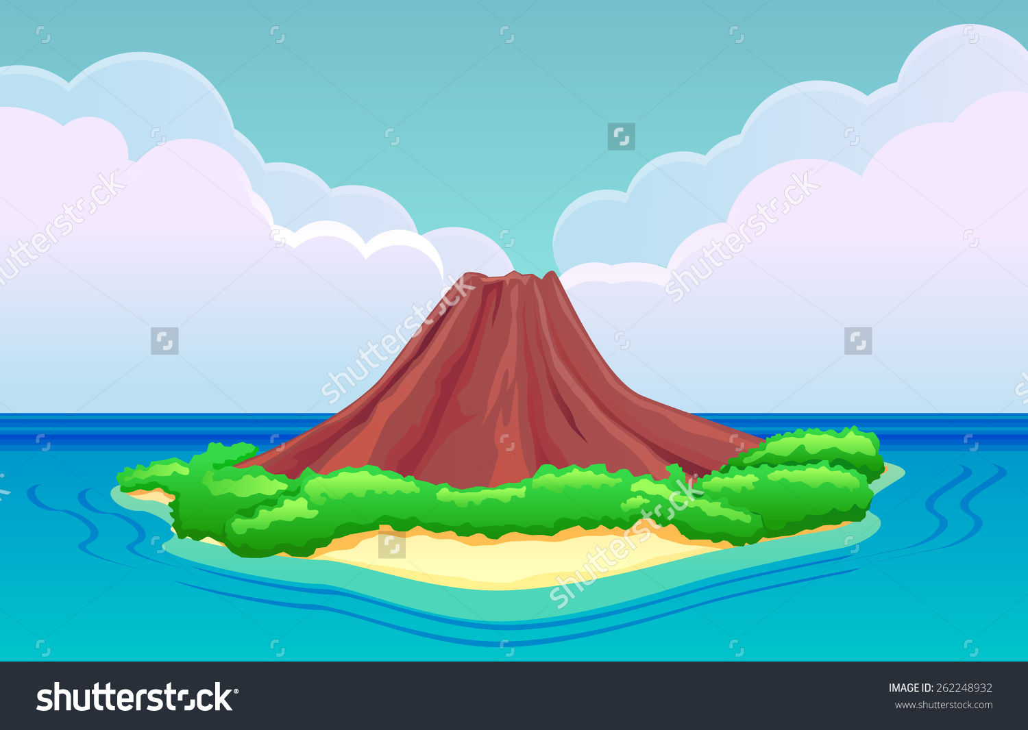 Inactive Volcano Clipart.