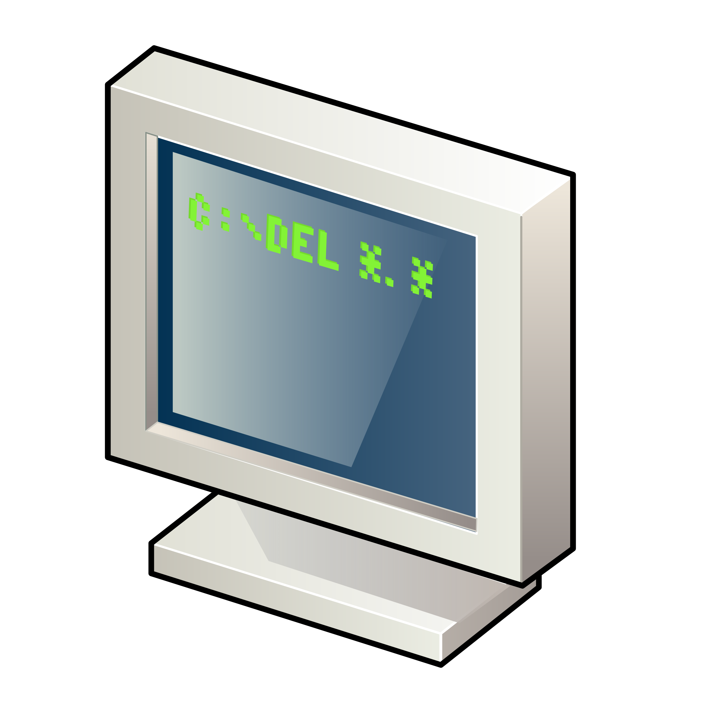 Computer with DOS Screen vector clipart image.