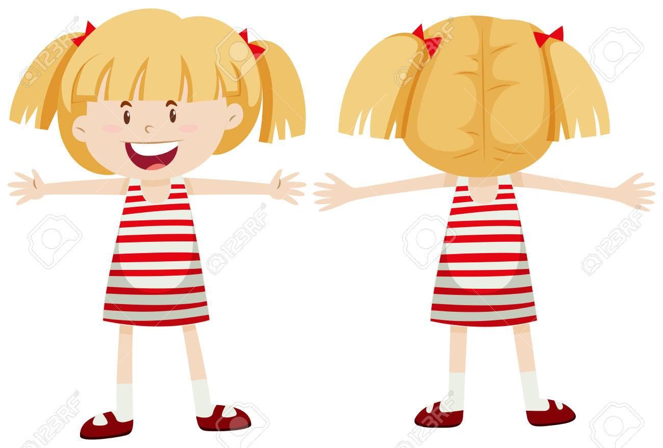 Petite fille à l'avant et vue de dos illustration.