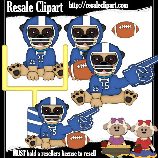 Football Pugs Blue Clipart Digital Download ZIP file by.
