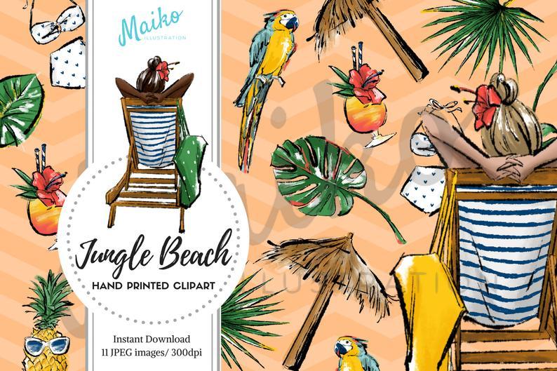 Jungle Beach Summer Clipart Downloadable Clipart Fashion illustration  Summer printable planner stickers invitation Animals digital paper.