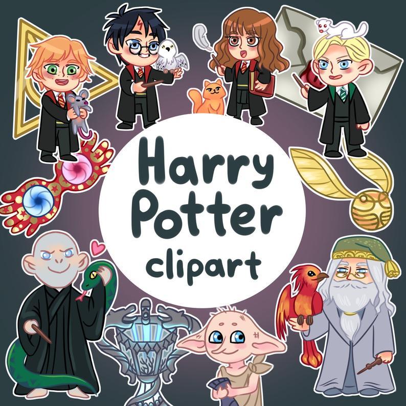 Harry Potter Clip Art, Wizard Clipart, Downloadable, Cute Wizard,instant  download,Harry Potter Style Digital Clipart PNG,Hogwarts.