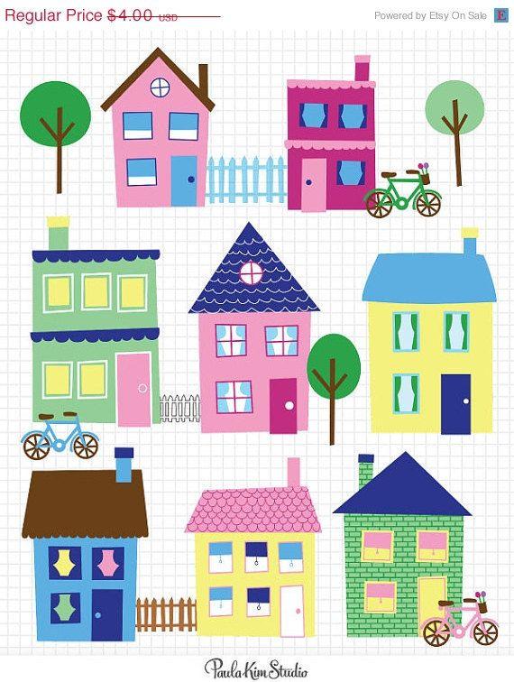 60% OFF SALE House Clip Art Neighborhood Clipart Town Clip Art.