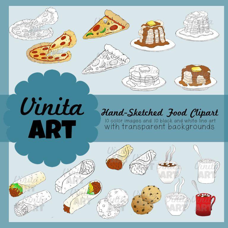 Hand Drawn Fast Food Clip Art/Food Clipart/PNG/Digital Download.