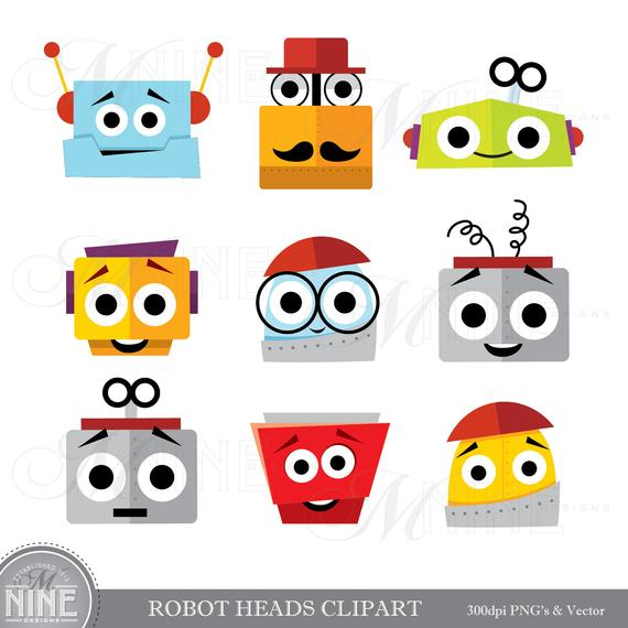 ROBOT HEADS Clip Art / Robot Clipart Downloads / Robot Party.