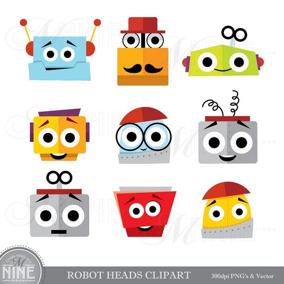 ROBOT HEADS Clip Art / Robot Clipart Downloads / Robot Party.