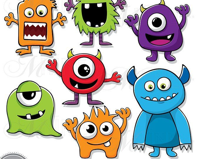 SILLY MONSTERS Clip Art / Monster Clipart Downloads.