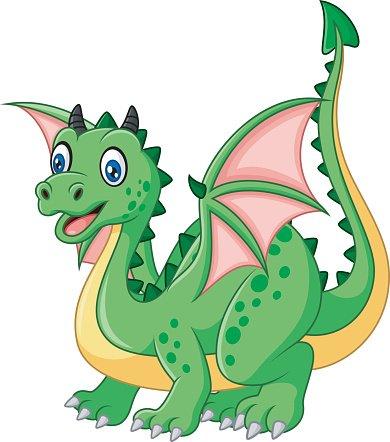 Cartoon funny green dragon Clipart Image.