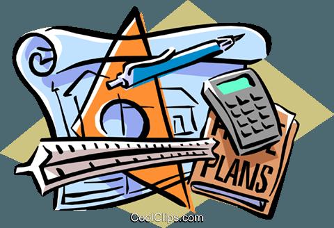 drafting materials Royalty Free Vector Clip Art illustration.