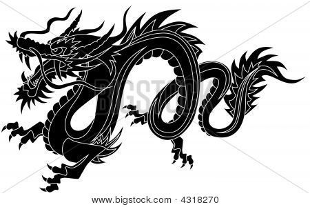 chinese dragon clipart black and white.