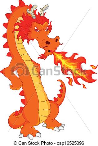 EPS Vectors of dragon fire cartoon.
