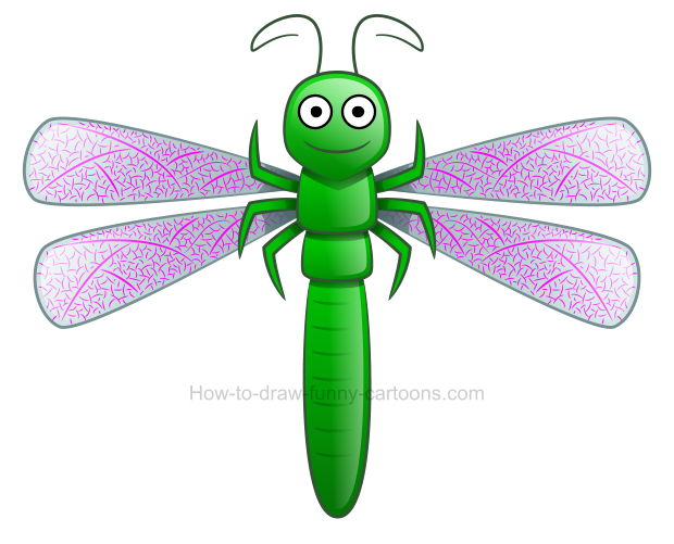 How to draw a cute dragonfly clipart.