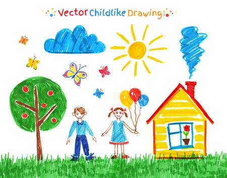 308,980 Children Drawing Cliparts, Stock Vector And Royalty Free.