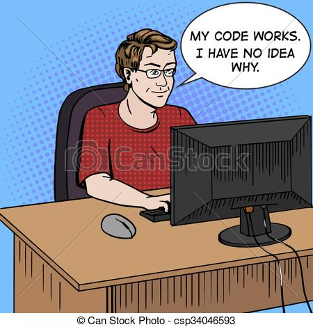 EPS Vectors of Software developer at work comic book style vector.