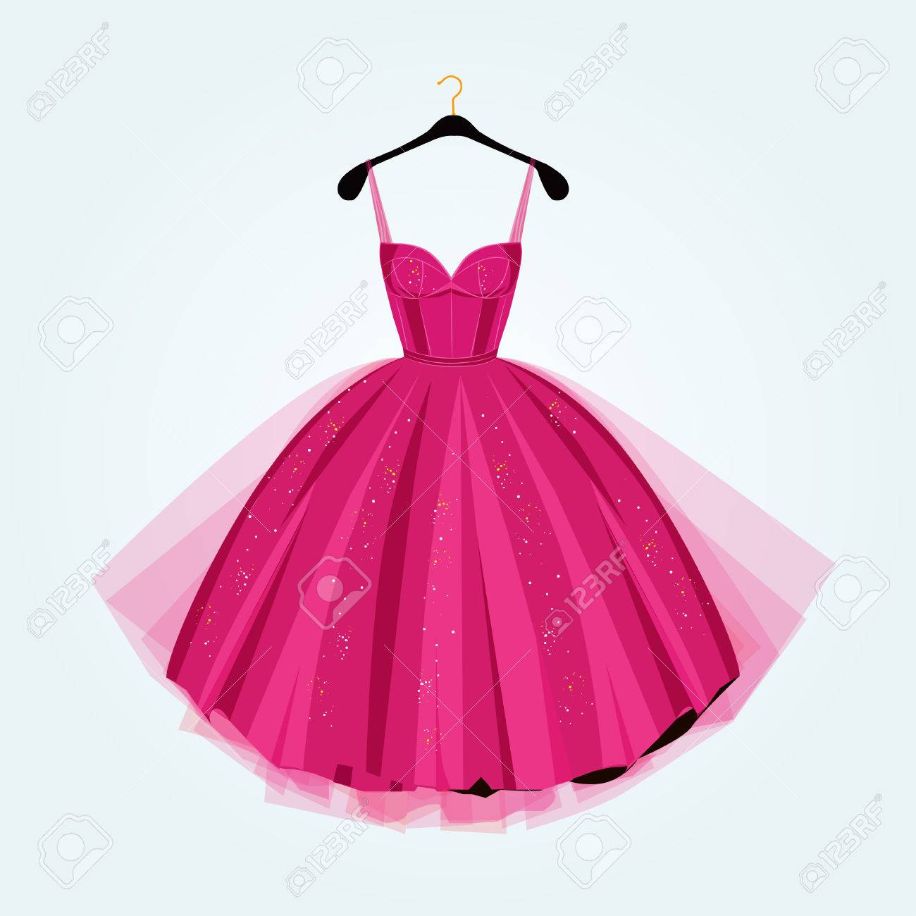 Pink party dress.Prom dress.Vector illustration.