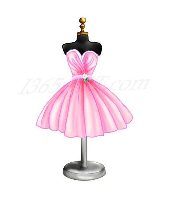Pink Dress Clipart, Dress Form Digital Illustration, Scrapbooking.