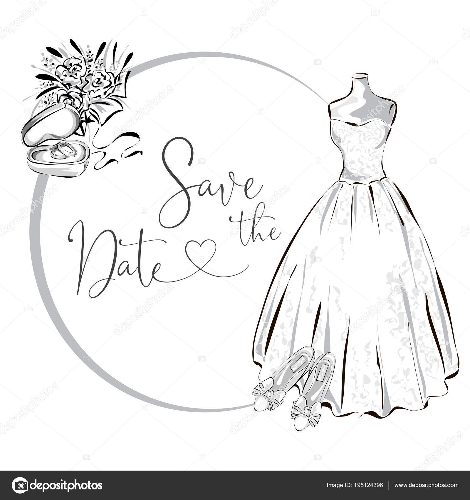 Wedding clipart set with wedding dress, flowers and wedding rings.