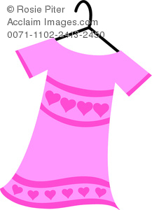 Illustration Of A Pink Shirt With Heart Print On A Hanger.