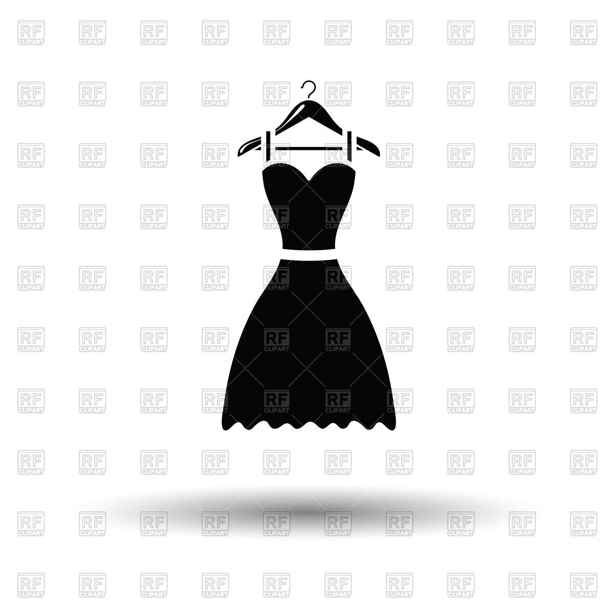 Elegant black dress on hanger Stock Vector Image.