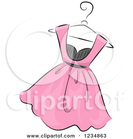Clipart of a Pink Boutique Dress on a Hanger.
