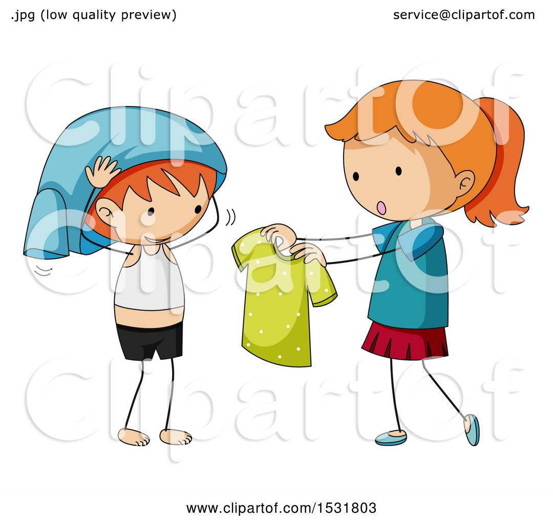 Clipart of Children Getting Dressed.