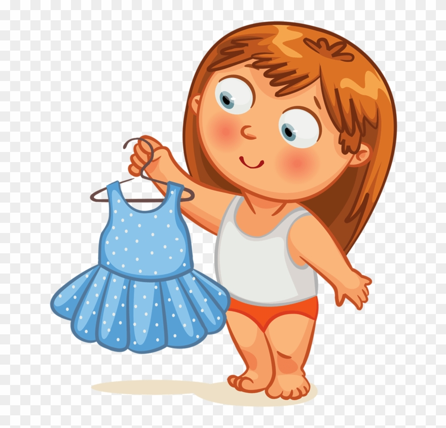 Girl Getting Dressed Clipart.