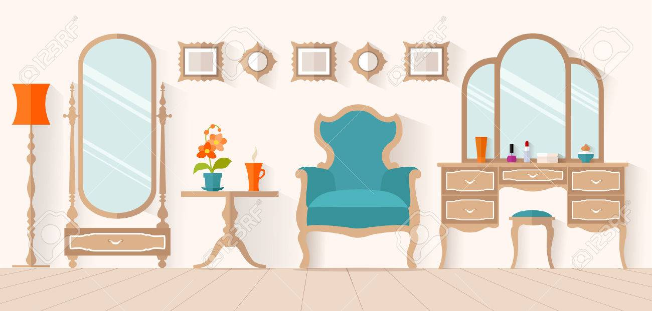 The interior of the dressing room with furniture in flat style.