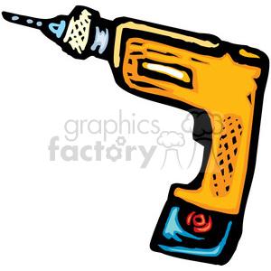 cartoon cordless drill clipart. Royalty.