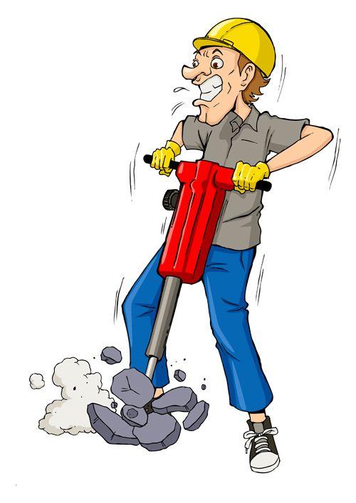 Funny cartoon builders vector illustration 12.