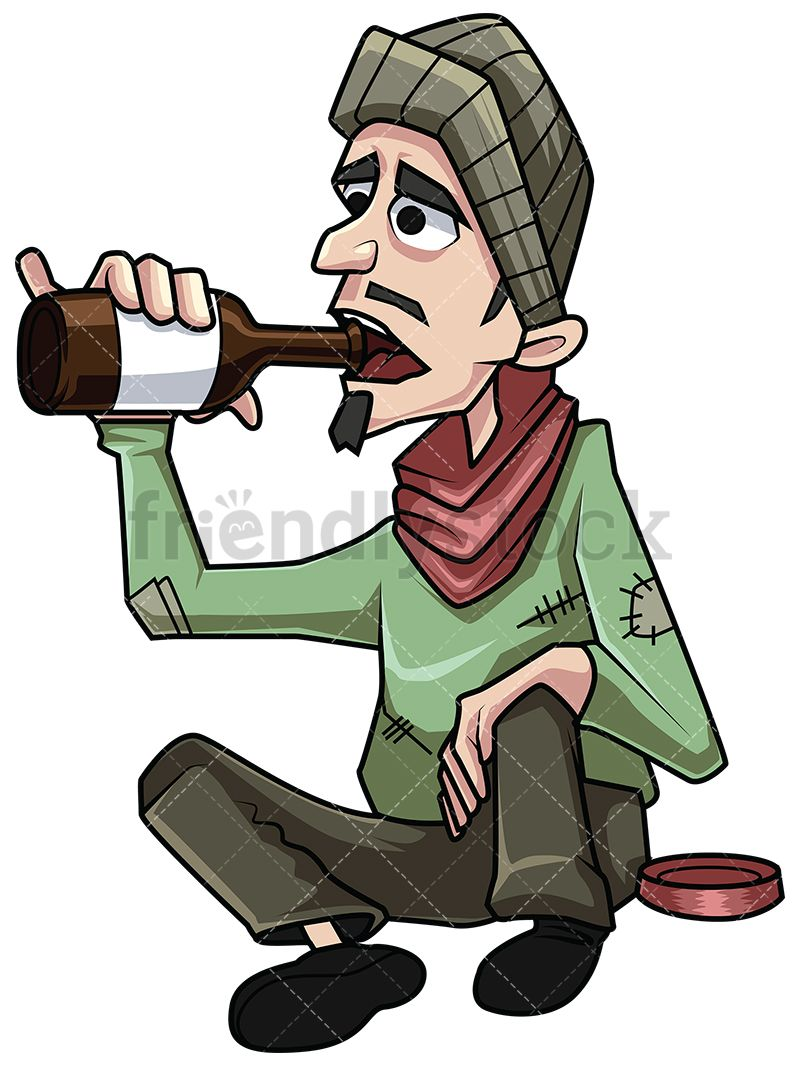 Poor Homeless Man Drinking Alcohol in 2019.