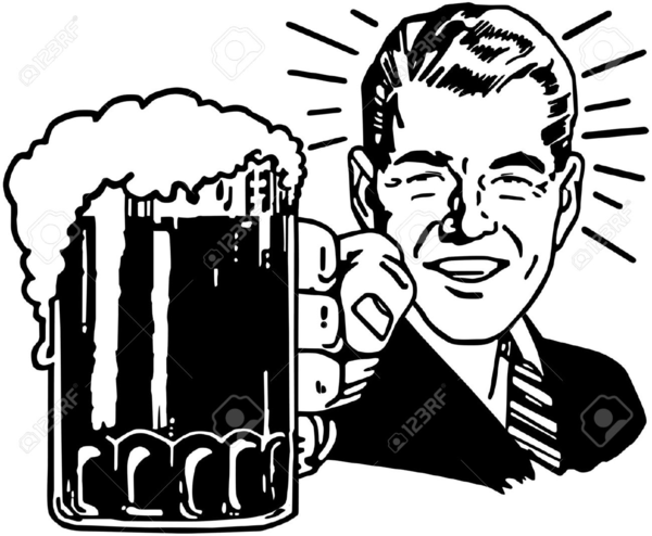 Guy Drinking Beer Clipart.