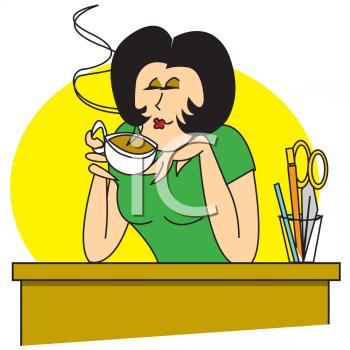 Cartoon of a Secretary Drinking Coffee at Her Desk.