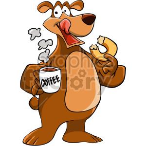 cartoon bear drinking coffee clipart. Royalty.