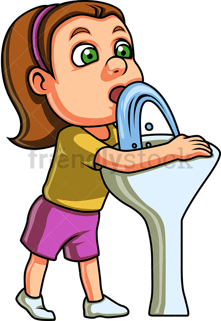 Girl Drinks Water From A Drinking Fountain.