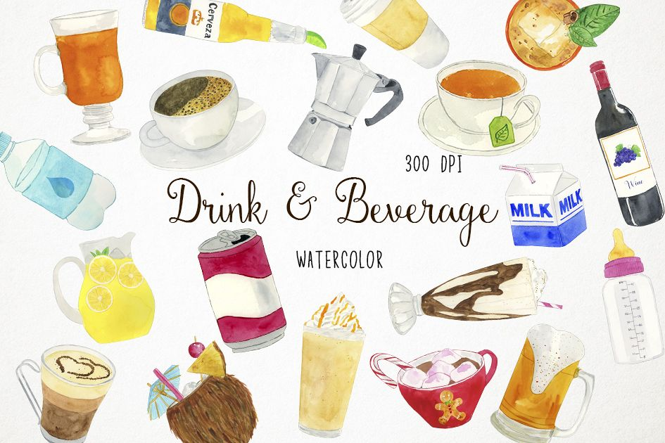 Watercolor Drinks Clipart, Drinks Clip Art, Beverage Clipart.