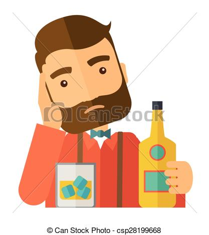 Vector Illustration of Sad man drinking alcohol..