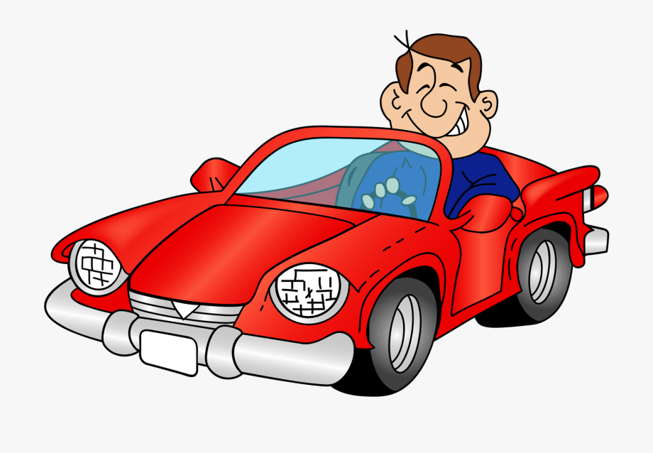 Cartoon Car With A Driver Png Clipart.