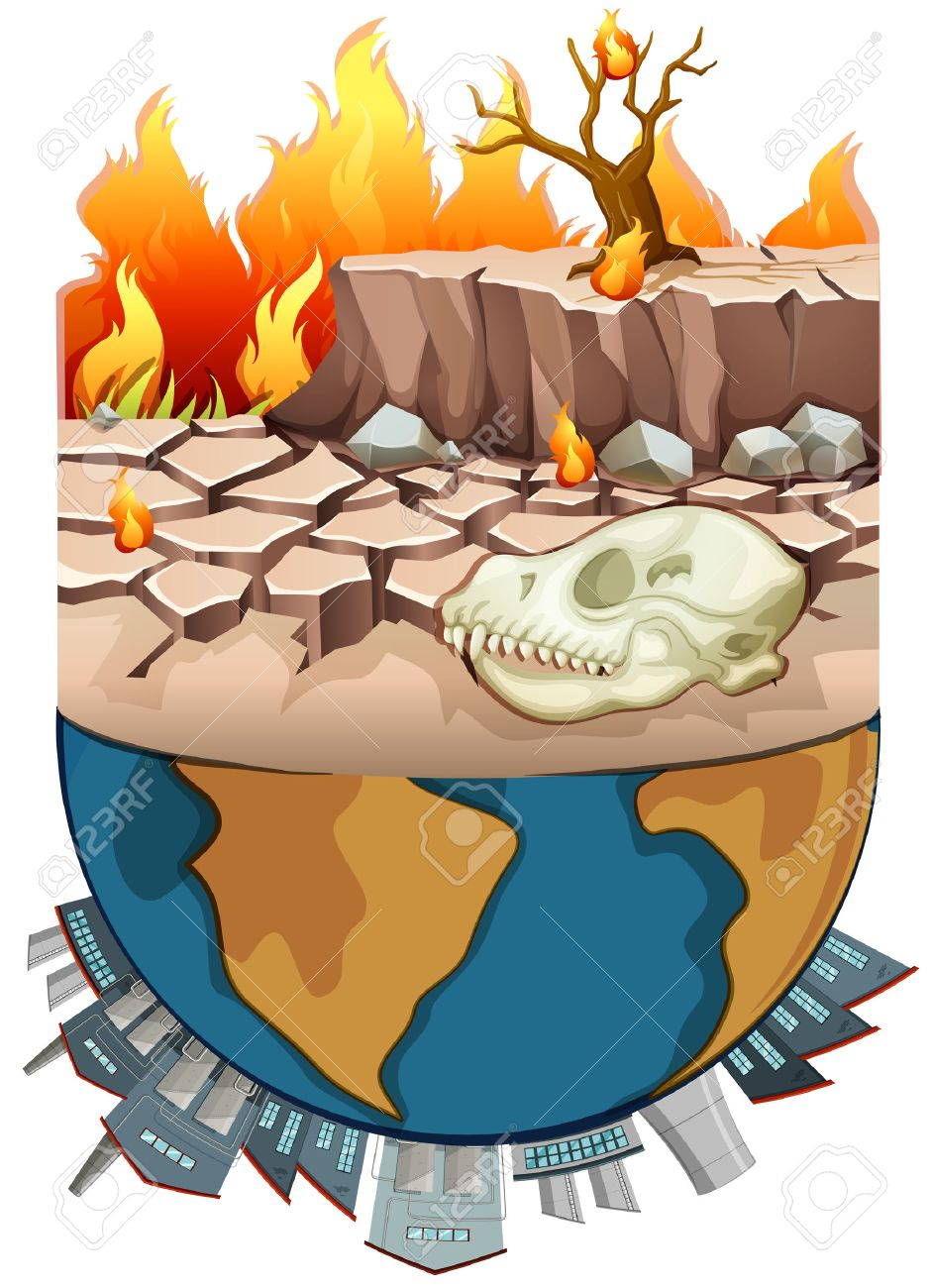 Polution on earth and drought illustration.