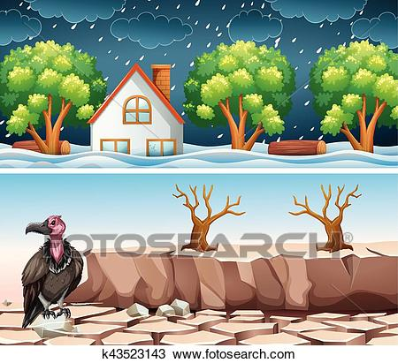 Two disaster scene with flood and drought Clipart.