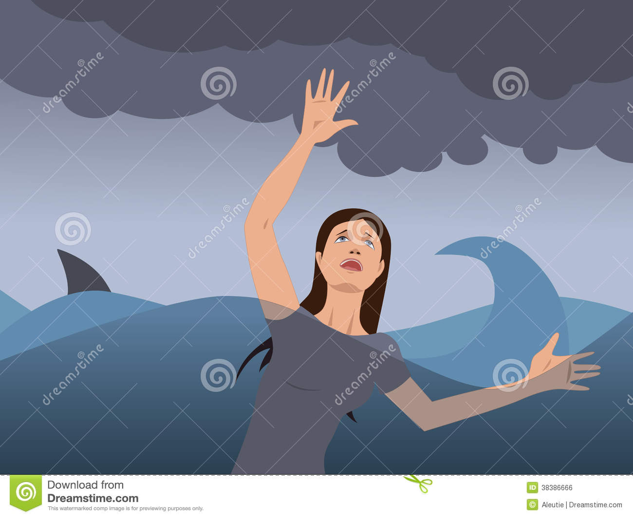 Drowning Woman Stock Illustrations.