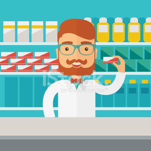 Young pharmacy chemist man standing in drugstore Clipart.