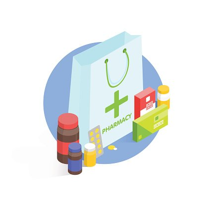 Modern pharmacy and drugstore concept. Isometric Vector.