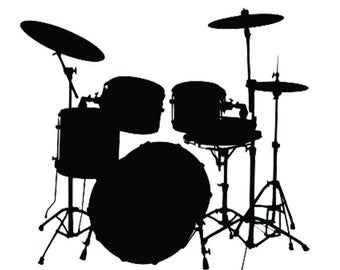 Vector Images Drum Set SVG Silhouette Clipart Cutting Files.