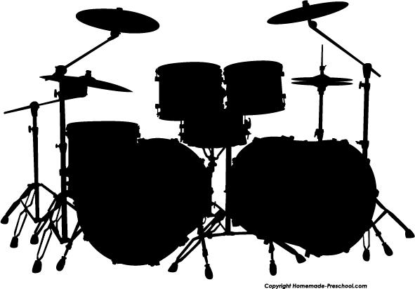 Free Silhouette Clipart drum set.