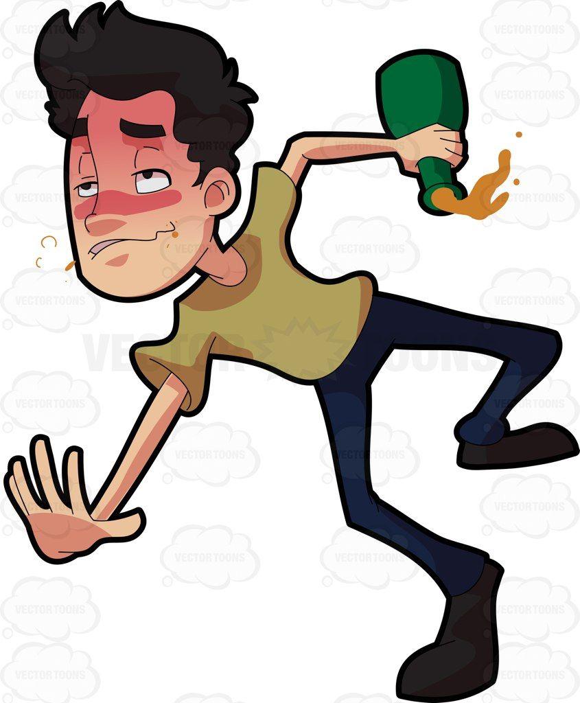 A drunken man tumbling down on the floor #cartoon #clipart.
