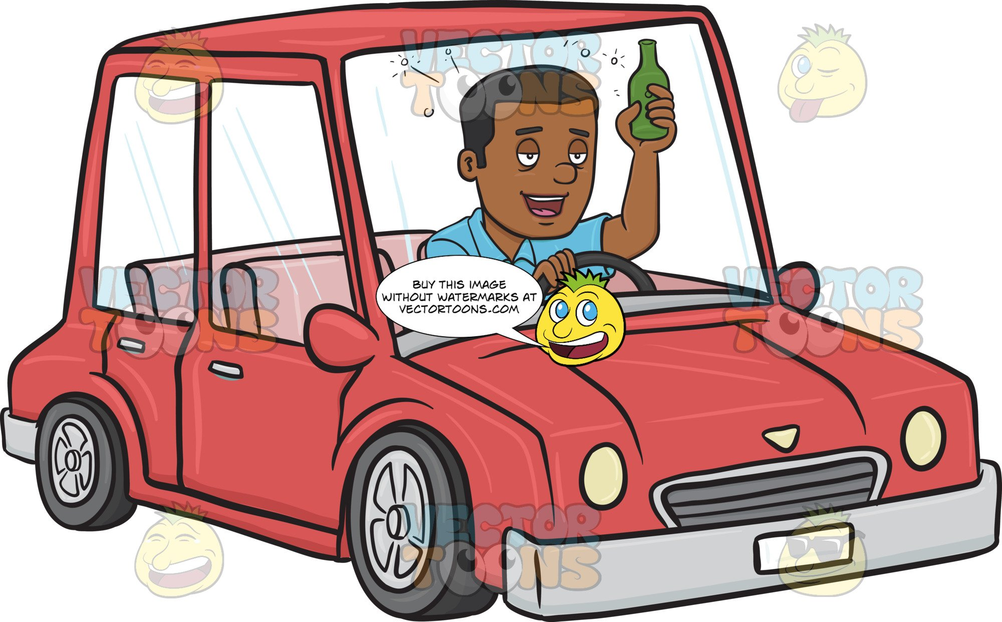 African American Man Driving While Drinking.