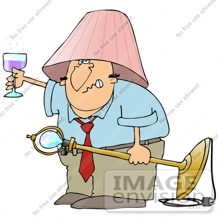 Clip Art Graphic of a Drunk Cacuasian Man Holding up a Glass of.