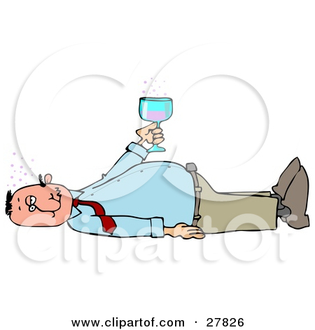 Clipart of a Drunk White Business Man Passed out on the Floor with.