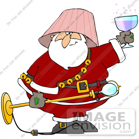 Clip Art Graphic of a Drunk Santa Claus Wearing A Lamp Shade And.