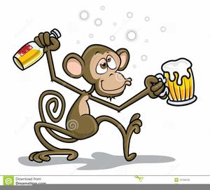 Drunk Monkey Clipart.
